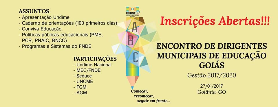 Inscrições para o Encontro de Boas-Vindas aos atuais Dirigentes Municipais de Educação de Goiás